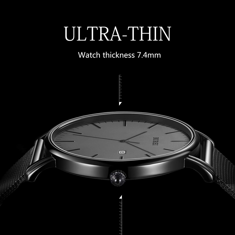 BUREI Men's Fashion Minimalist Wrist Watch Analog Deep Gray Date with Black Mesh Band by BUREI (Image #2)