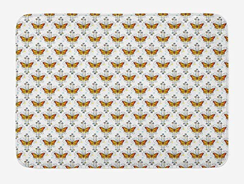 Tattoo Bath Mat, Orange Butterflies in Mystical Composition Soul Spirit and Nature Theme, Plush Bathroom Decor Mat with Non Slip Backing, 23.6 W X 15.7 W Inches, Orange Yellow Pale Blue