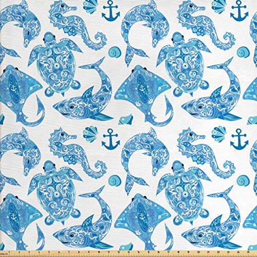 Lunarable Anchor Fabric by The Yard, Pattern with Turtle Dolphin Sea Horse Mollusk Shark Fauna Exotic Tropical Aquatic, Decorative Fabric for Upholstery and Home Accents, 3 Yards, Aqua Sky Blue ()