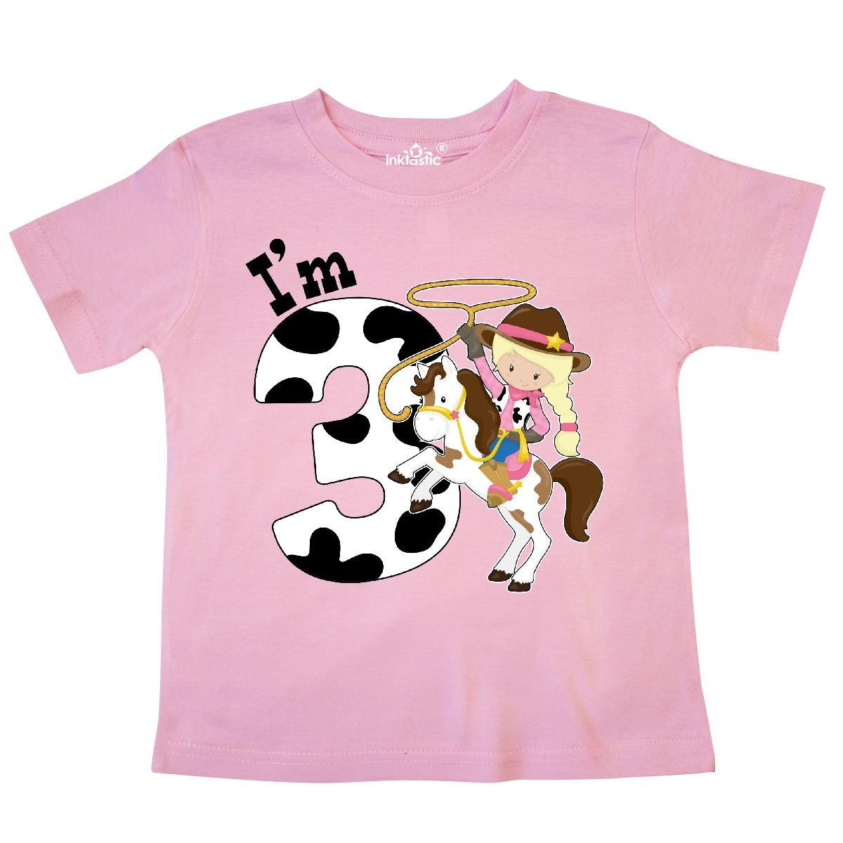 inktastic Im Three-Cowgirl Riding Horse Birthday Toddler T-Shirt