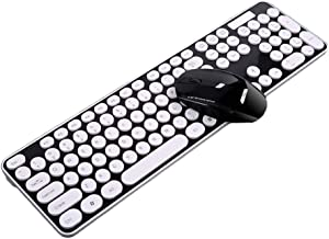 OUKB Juego de Teclado y Mouse inalámbricos de tecla Redonda Punk Oficina Hogar portátil Juego Mute mecánico USB Inteligente Externo (Color : Black White Punk 104 Key)