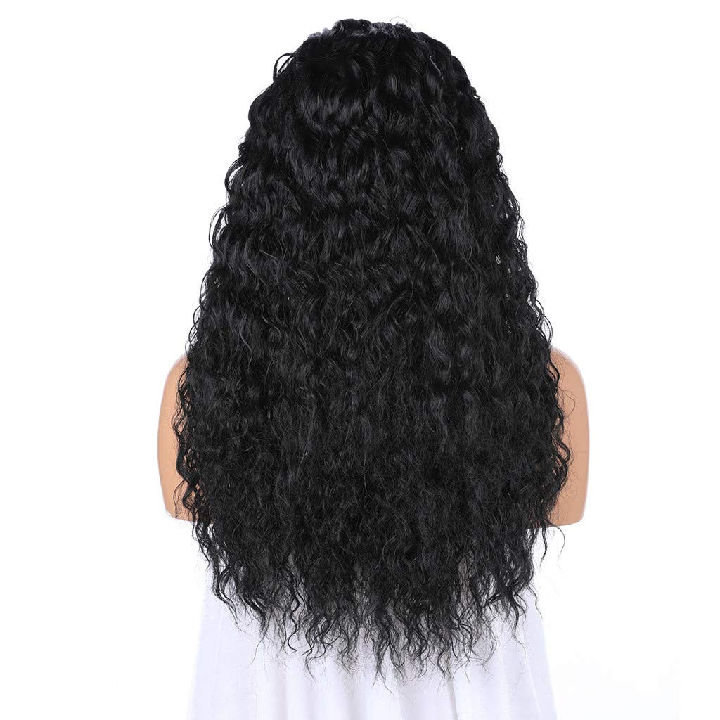 JYS Long Bob Lace Front Wig Synthetic Black Wig Glueless Wave Hair Heat Resistant Fibers Middle Parting 24 Inches for Ladies Cosplay Costume Halloween Party Hair Wig (Black) by JYS (Image #7)