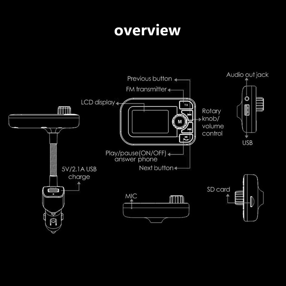 Fm Transmitter Bluetooth Music Receiver Wireless Audio Radio Recent Added Crystal Controlled Tx Telephone Adapter 6 In 1 Car Kit Hands Free Speakerphone Dual Usb Charger Gps Nav Sd Mp3
