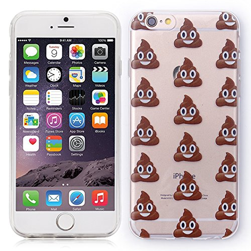 iProtect coque de protection souple TPU pour Apple iPhone 6, 6s - design Crotte Emojis en transparent