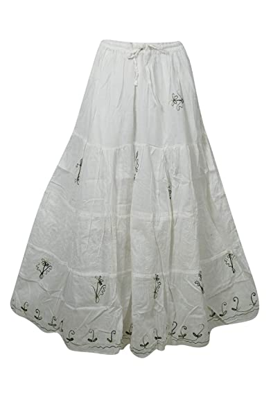19d7f50305 Mogul Interior Women's Maxi Skirt White Cotton Gauze Embroidered Gypsy  Skirts M at Amazon Women's Clothing store: