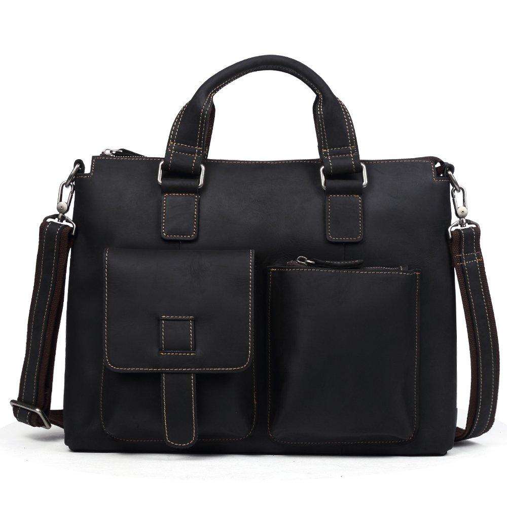 14'' Genuine Crazy Horse Leather Men's Laptop Briefcase Messenger Bag (black)