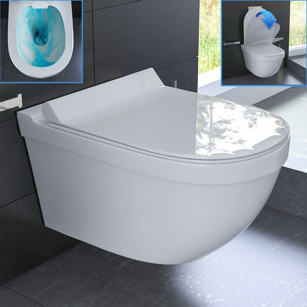 Erstaunlich Keramik Hänge WC Rimless WC Spülrandlos Toilette inkl. WC-Sitz  GB22