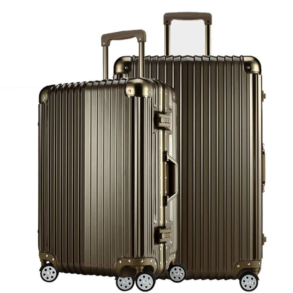 トロリーケースアルミフレーム傷防止ビジネス搭乗ユニセックスユニバーサルホイール荷物スチューデントバッグ(20/24/26/29インチ) (Color : Titanium gold, Size : 26 inch)   B07QZHBDR8
