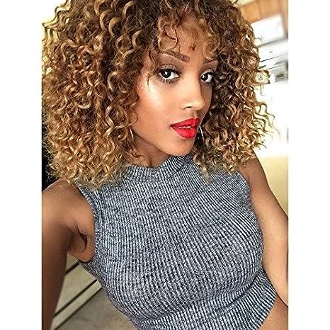 RUISENNA Pelucas de Pelo Afro Rizado Marrón Rubio Peluca Mezclada para Mujeres Negras 100% Pelucas