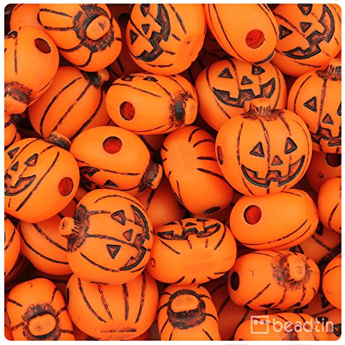 BEADTIN Tangelo Orange Antique 20mm Halloween Jack O Lantern Pony Beads (24pc) -