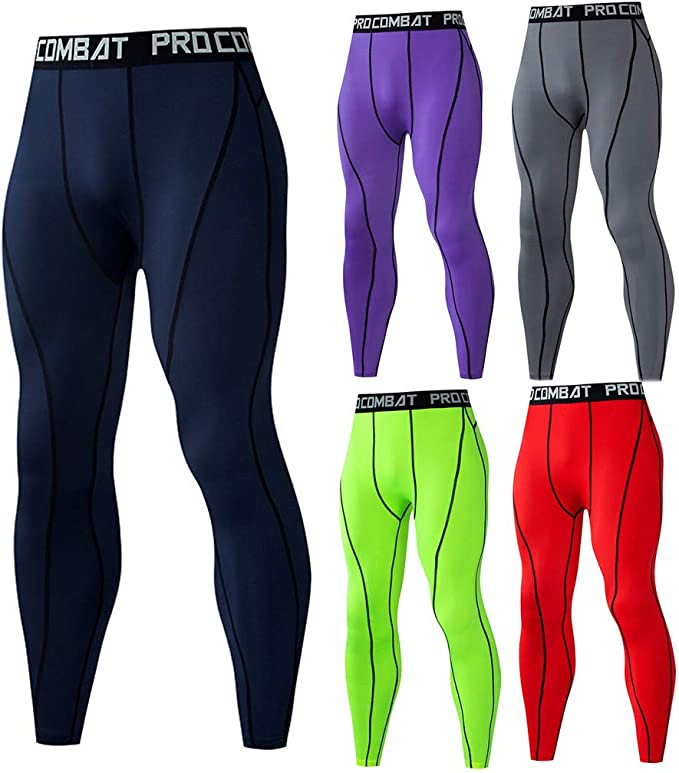 Uomo Compressione Collant Base Strato Pantaloni Lunghi Corsa Yoga Gym SPORTS Fit
