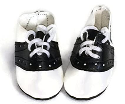 4e3c92b1f898a Doll Shoes fit American Girl Doll and Other 18 Inch Dolls Black and White  Saddle Shoes