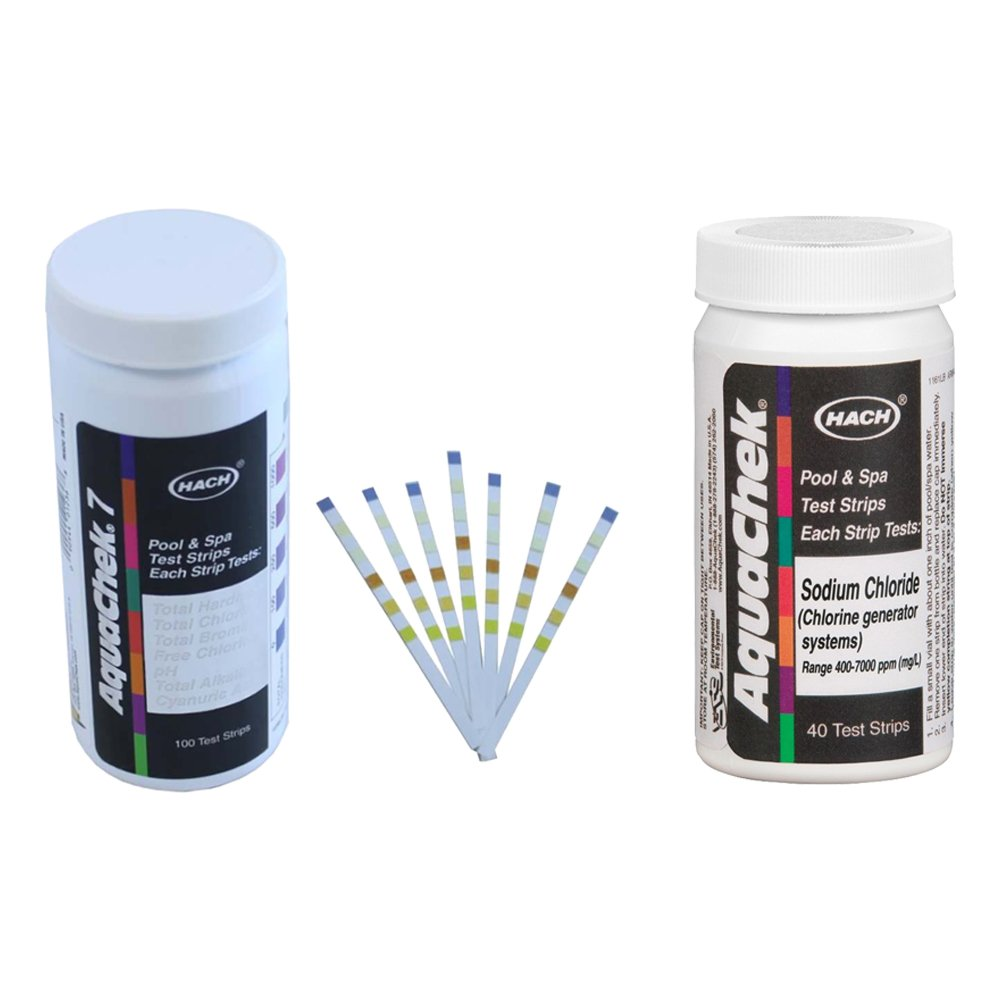AquaChek Silver 7-Way Pool Chlorine/pH Test Strips + White Salt Titrator Strips by AquaChek