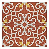 Moroccan Mosaic & Tile House AgadirCTP01-14 Cement Tile Agadir Red and White Handmade Moroccan 8 x 8-Inch Floor/Wall (Pack of 12), 8'' x 8'', Red White Yellow, 12 Piece