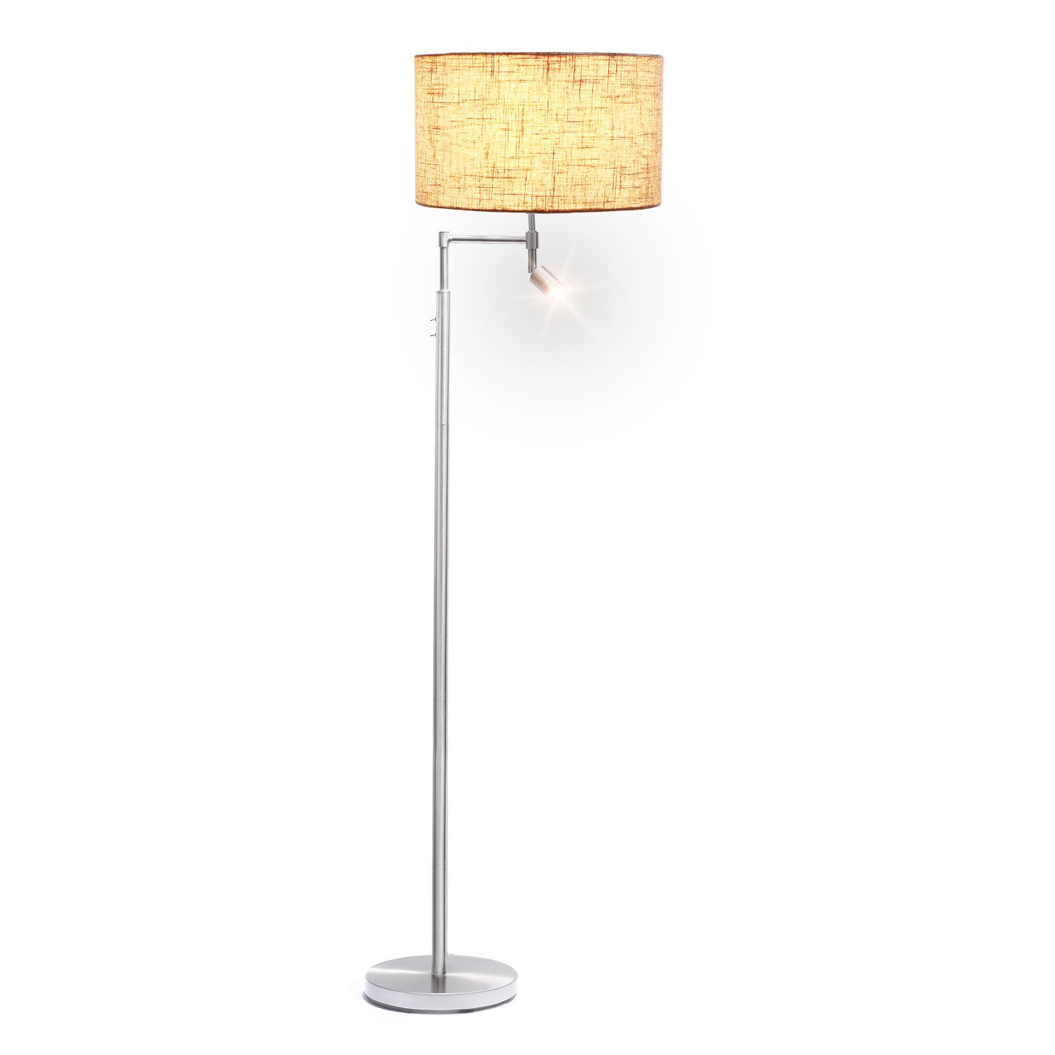 Floor Lamp with Reading Light, AVAWAY Drum Shade Standing Lamp with 360° Rotable LED Reading Lamp for Living Room, Bedroom, Office
