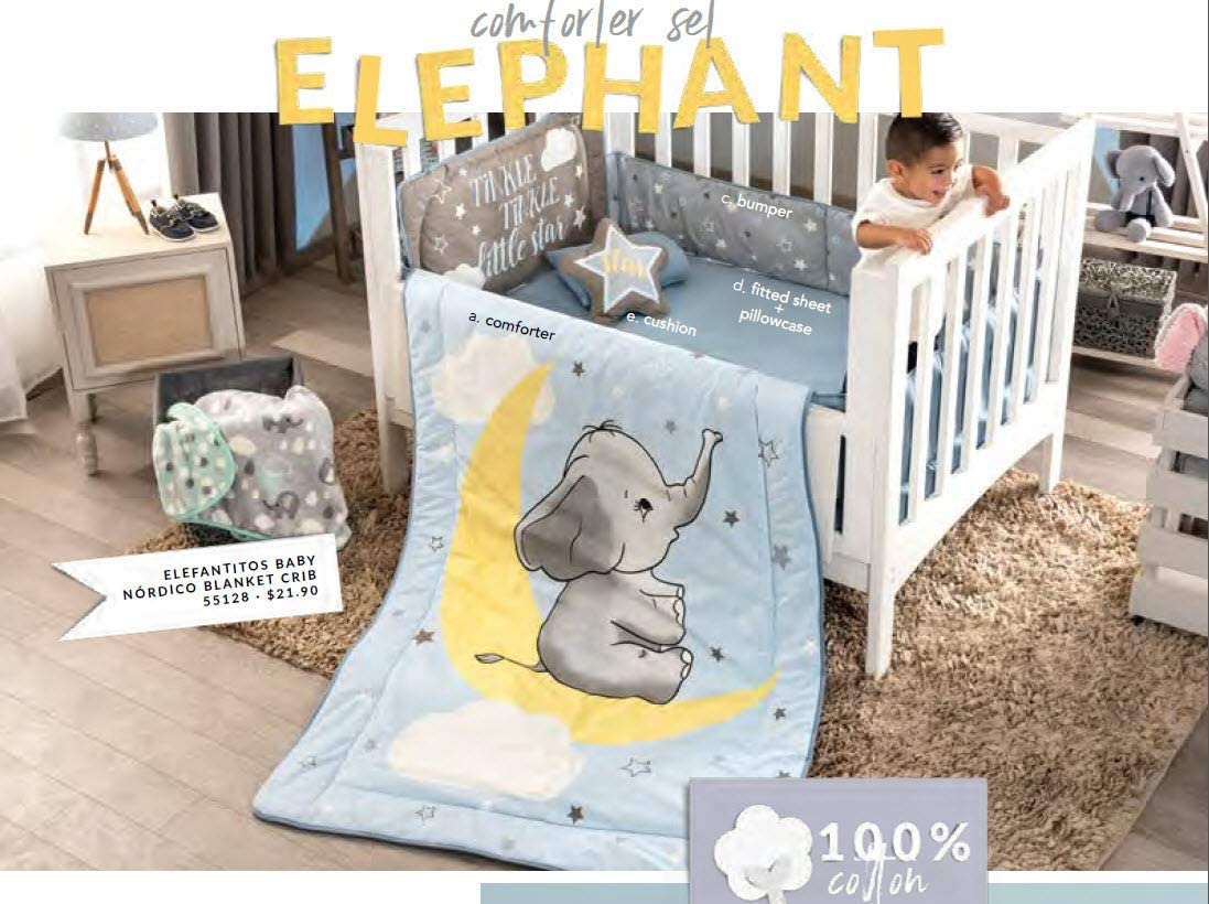 DreamPartyWorld Little Elephant Crib Set Baby Gift Shower Bedding Dumbo Nursery Boy Blue Stars 100% Cotton