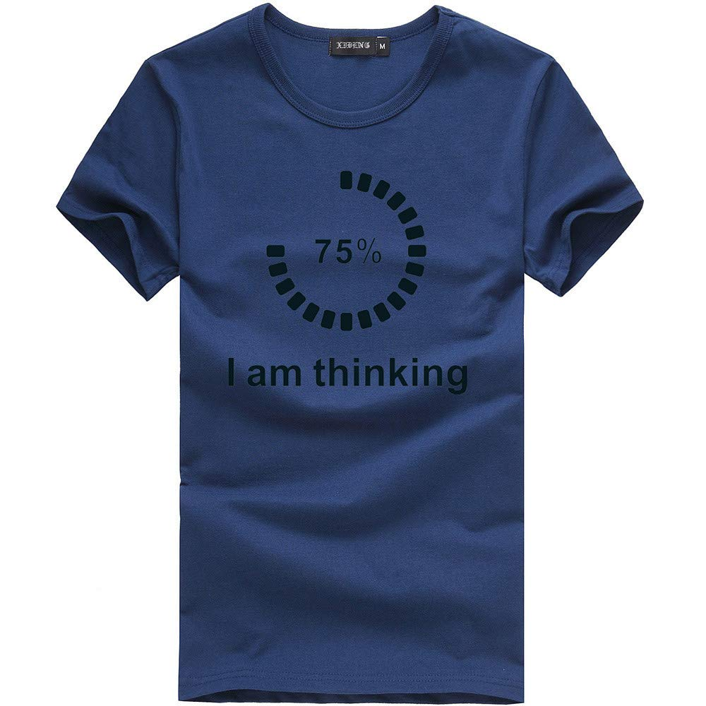 Eolgo Mens T-Shirt, Plus Size Thinking Creative Print Blouse, Fashion Summer Sport Casual Tops Navy