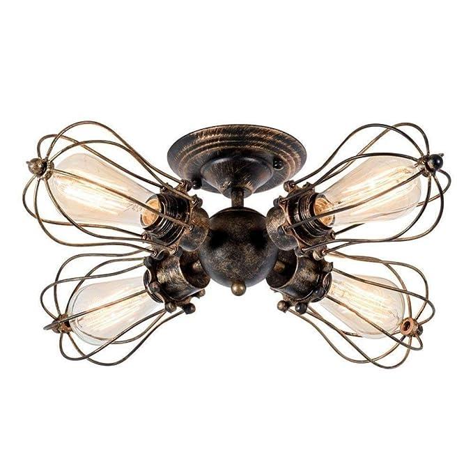 Ceiling Light Retro Metal Ceiling Lamp Industrial Edison Vintage Ceiling Light E27 (Color : Brass, Size : 4-light) - - Amazon.com