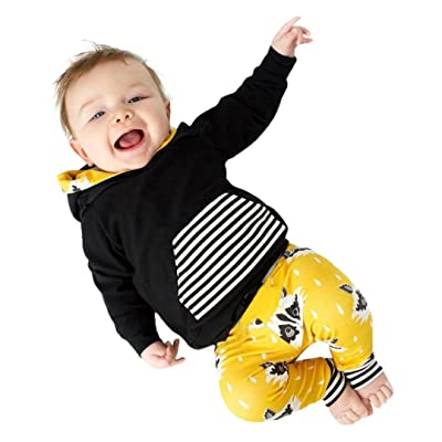 2Pcs Outfit Goodlock Baby Girls Boys Fox Stripe Hooded Tops+Pants