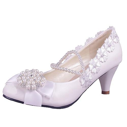 64d0eb93dbbcd getmorebeauty Women's Pearls Lace Weave Flower Kitten Heel Wedding Shoes