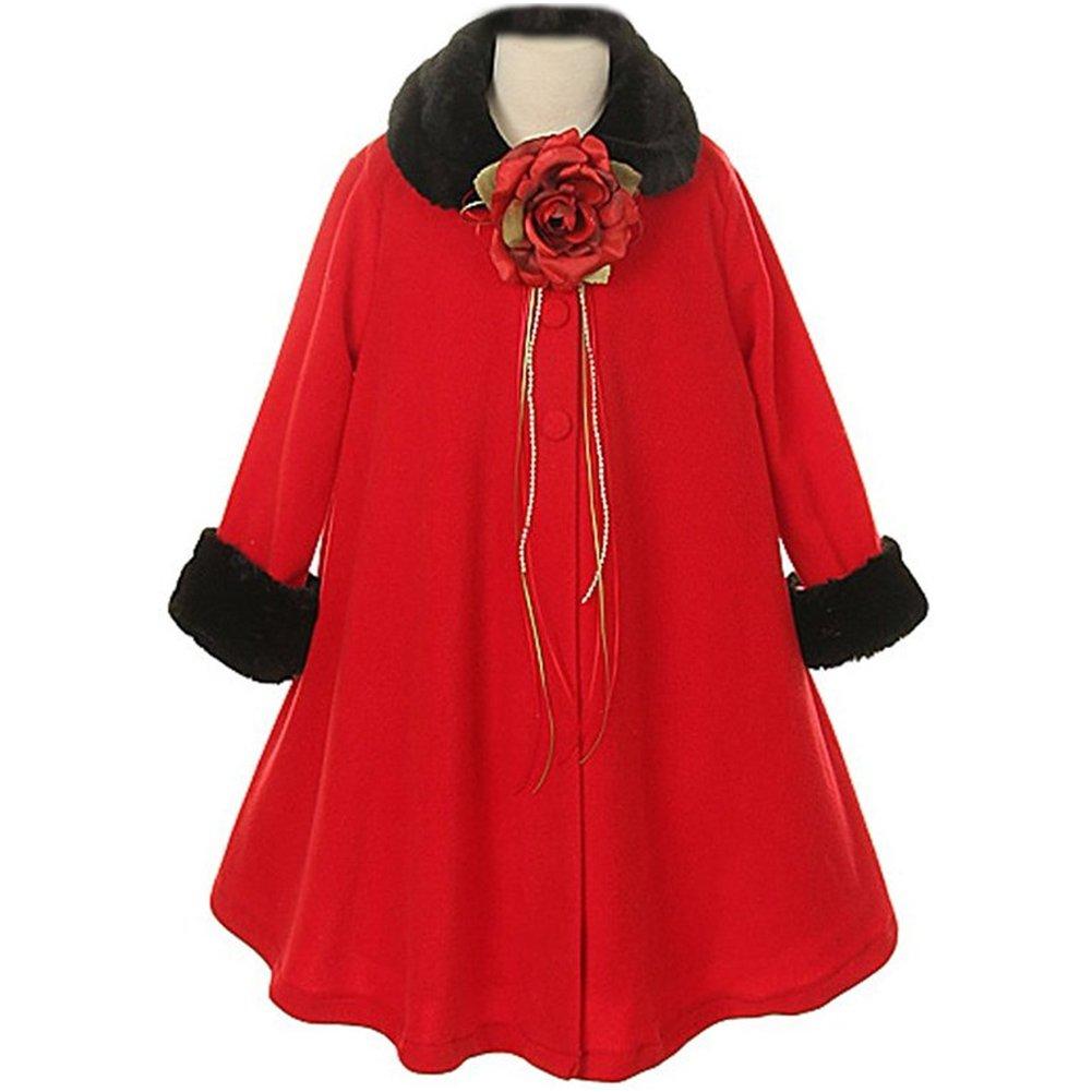 Big Girls Gorgeous Red Fleece Faux Fur Collar Cuff Coat - Size 8