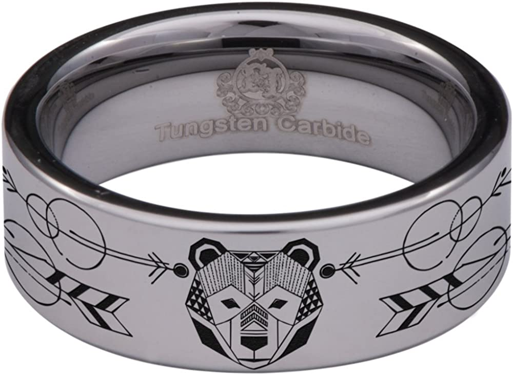 Thorsten Peaks Mountain Range Outdoors Landscape Ring Flat Tungsten Ring 12mm Wide Wedding Band from Roy Rose Jewelry