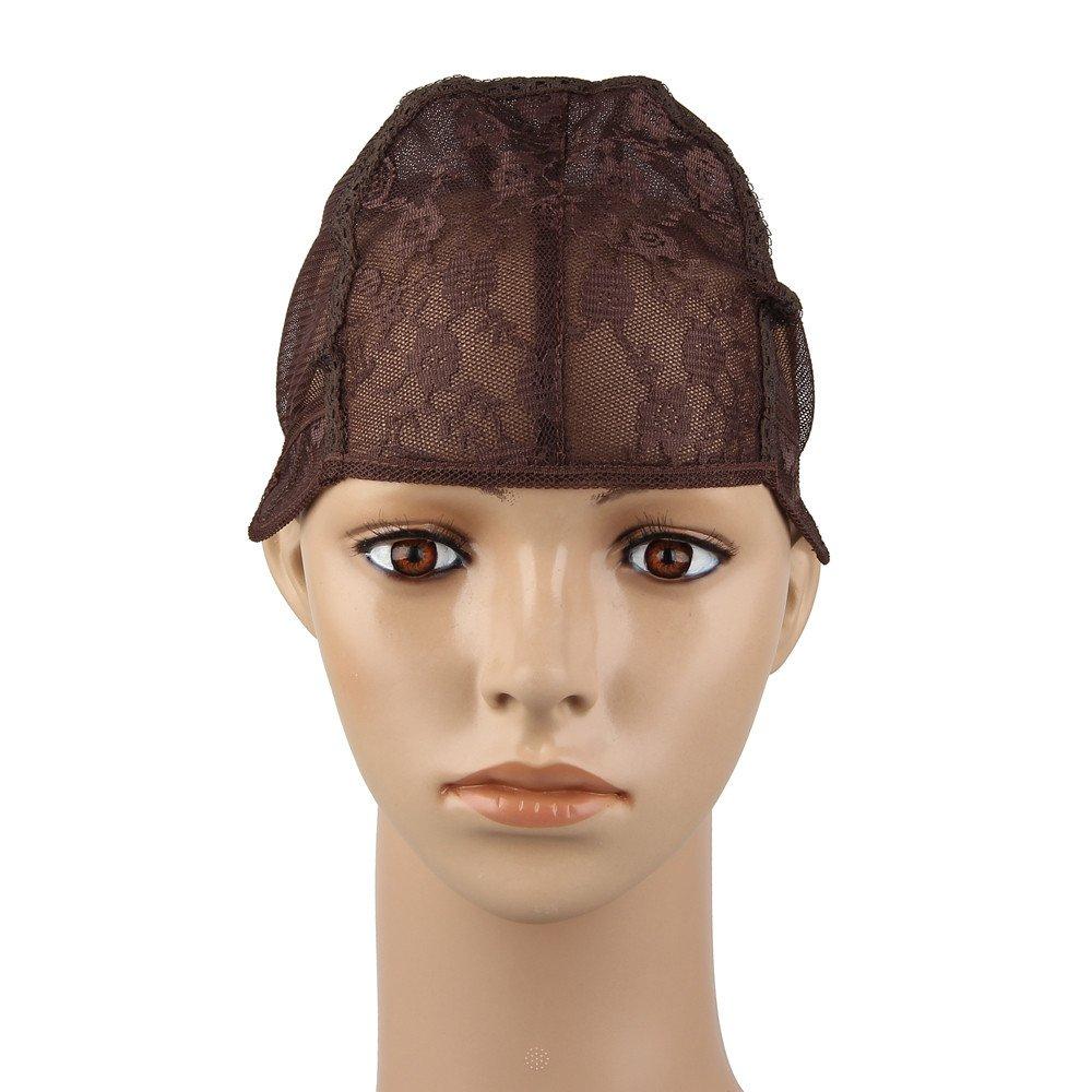 Beauty7 Wig Cap Gorros de Peluca de Nylon Casquillo Extensiones del Cabello Pelucas DIY Negro Marrón, S