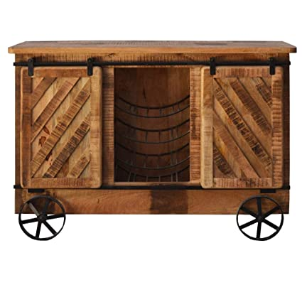 Glamfurnish Natural Finish Mango Wood Bar Cabinate for Home