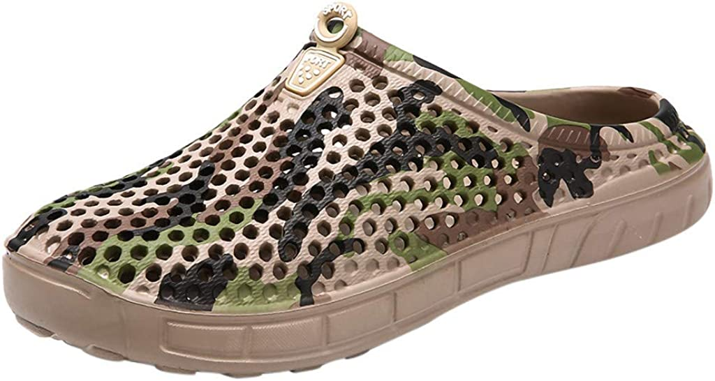 Colmkley Men Casual Camo Hole Slippers Non-Slip Flip Flops Breathable Beach Shoe