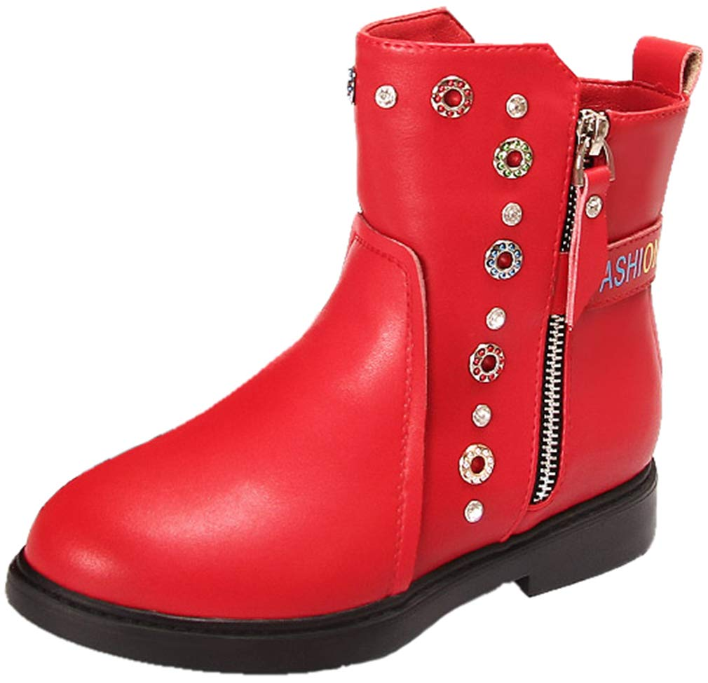 VECJUNIA Girl's PU Short Boots with Rhinestones Zip Up Party (Red, 1.5 M US Little Kid)