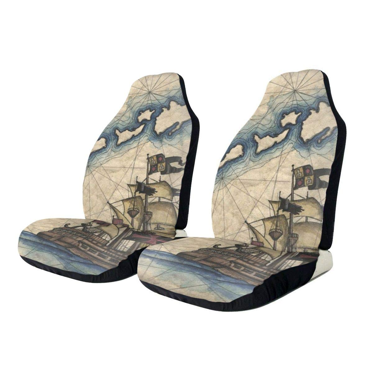 Car Seat Covers Nautical Captain Sailboat Pirate Map Front Automotive Seat Covers Breathable Anti Slip Car Seat Cushion With Back Storage Bag Universal Car Seat Protector For Cars Trucks & SUVs 2 PCS