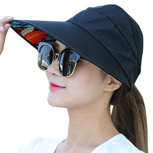 8eb0b757c3eee Oyachic Women s Foldable Sun Hat Wide Brim Adjustable Travel Cap Anti UV  and Waterproof Sunbonnet with