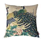 Monkeysell Peacock Pattern Vintage Cotton Linen Square Throw Pillow Case Decorative Cushion Cover Pillowcase Cushion Case for Sofa,Bed,Chair18 X 18 Inch (S018H1)