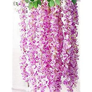 Miyaya 24 Pieces Realistic Artificial Silk Wisteria Vine Ratta Silk Hanging Flower Plant for Home Party, Wedding Decor and Other Various Events 11