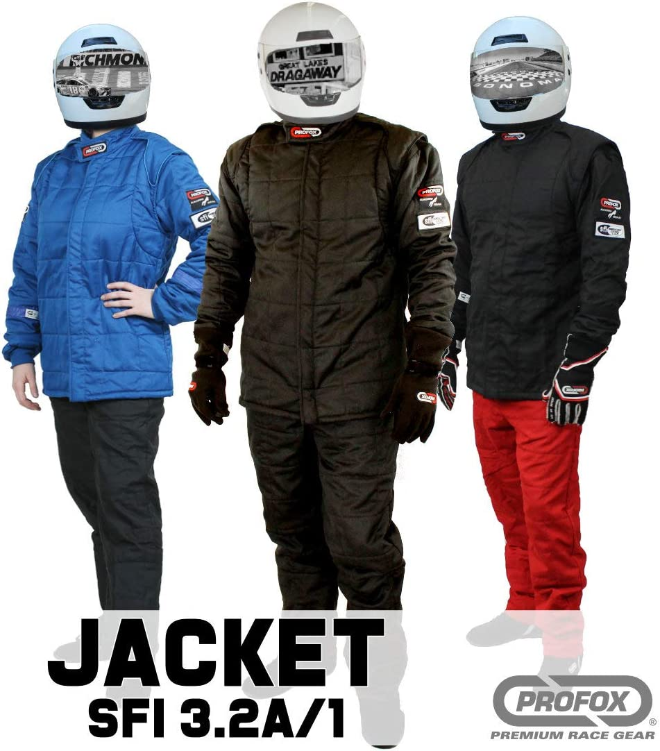 Jacket only PROFOX-102 Black 2XL Jacket Auto Racing Fire Resistant Single Layer SFI 3.2A//1 Racing Fire Suit