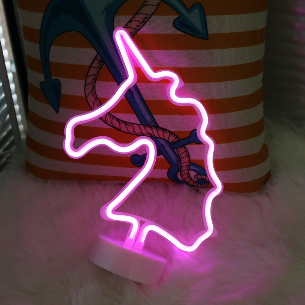 (Unicorn Pink With Holder) - DELICORE Unicorn Neon Signs, LED Neon Light Sign with Holder Base For Home Party Birthday Bedroom Bedside Table Decoration Children Kids Gifts (Unicorn Pink with holder) B07CJWVLDH Unicorn Pink With Holder