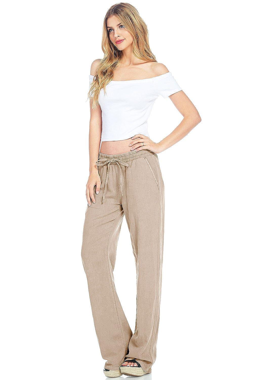 bottom price a few days away shoes for cheap Amazon.com: Celebrity Pink Women's Wide Leg Linen Pants ...