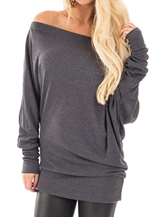 a0ba3662e1d NuoReel Womens Casual Lightweight Off Shoulder Shirring Solid Dolman T-shirt  Drape Long Sleeve Blouse