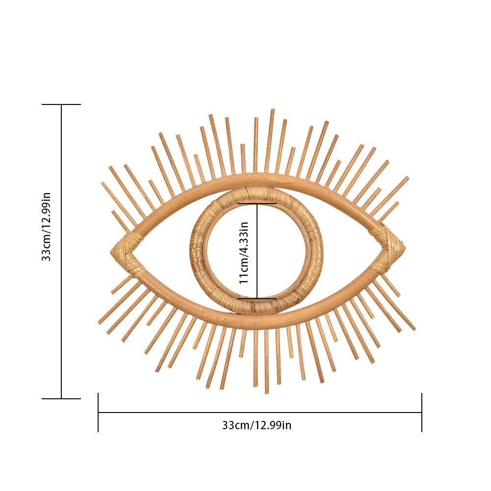 Bulary Cornice per Specchio A Parete A Forma di Occhio in Rattan Artigianato Cornice per Specchio Cornice per Specchio Decorativa Vintage Cornice per Foto Creativa Decorazione per Appendere A Parete