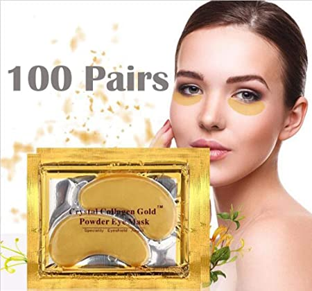 New Crystal 24K Gold Powder Gel Collagen Eye Mask Masks Sheet Patch, Anti Ageing Aging, Remove Bags, Dark Circles Puffiness, Skincare, Anti Wrinkle, Moisturising, Moisture, Hydrating 100 Pairs