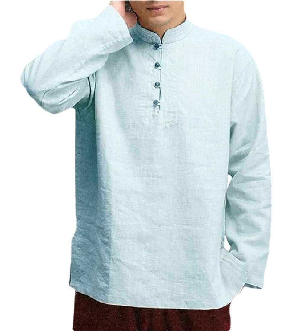 HANA+DORA Mens Cotton Linen Casual Long Sleeve Regular Fit Soft Comfortable Shirts