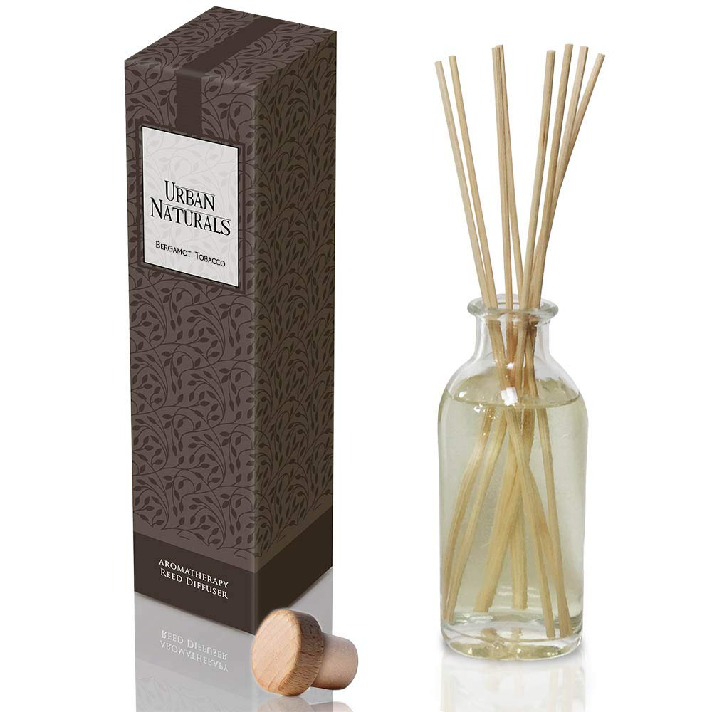 Urban Naturals Bergamot & Tobacco Reed Diffuser Set | Leather, Amber & Wood Notes | Woodsy Scent | Great Masculine Fragrance! Best Scent The Living Room