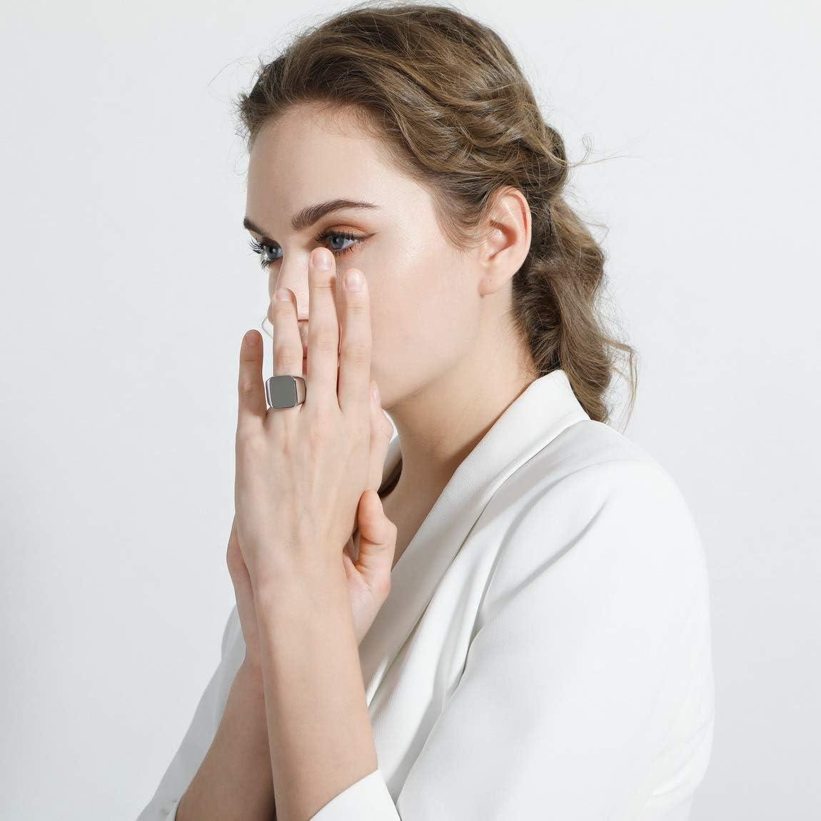 VIBOOS Custom Engraved Initial Monogram Signet Ring for Men Women Boys Mens Rings Stainless Steel Bundle with Ring Size Adjusters