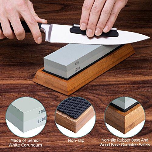 Premium Knife Sharpening Stone Kit, ASEL 4 Side 400/1000 2000/5000 Grit Whetstone, Best Kitchen Blade Sharpener Stone, Non-Slip Bamboo Base and Bonus Angle Guide Included by ASEL (Image #4)