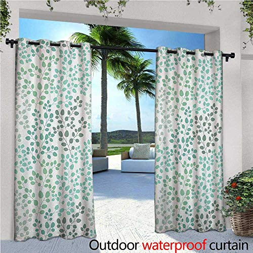 Leaf Outdoor- Free Standing Outdoor Privacy Curtain Pattern with Leaf Branches Silhouette Nature Theme Foliage Forest for Front Porch Covered Patio Gazebo Dock Beach Home W120