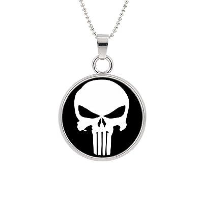 Marvel Comics Retro Necklace The Punisher Skull Necklace Black SOozpy2lIo