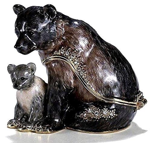 Bear Trinket Box - Bejeweled Black Bear Mom & Cub Pearlized Enamel & Austrian Crystal Trinket BOX