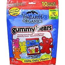Yummy Earth Organics Gummy Bears - Organic - Snack Pack - .7 oz - 10 Count - Case of 12-95%+ Organic-Gluten Free -