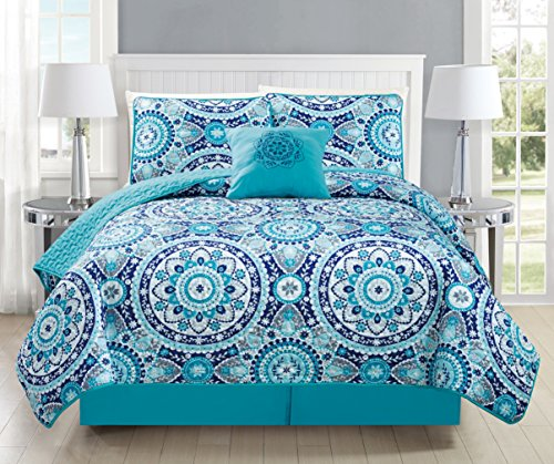 Mk Collection 5pc Bedspread coverlet quilted Floral Turquoise Teel Blue Grey New #185 (Full/Queen 5 Piece Set)