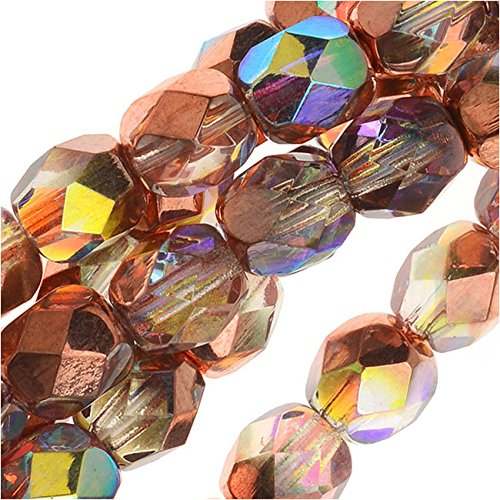 Czech Fire Polished Glass, Faceted Round Beads 6mm, 25 Pieces, Crystal Copper Rainbow -